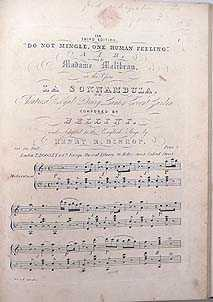Do Not Mingle, One Human Feeling : Air, Sung By Madame Malibran In The Opera La Sonnambula At The ...
