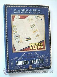 PRIMER ALBUM DE SELLOS DE AHORRO INFANTIL. Contiene completas 18 de las 25 series. Año 1954