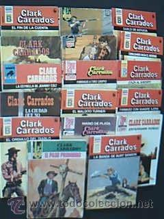 Lote 17 Novelas del Oeste de Clark Carrados: La matanza de Red River. Savia roja (1ª Ed 1962 ...