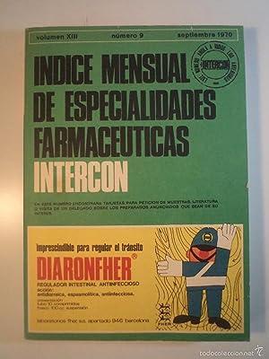 INDICE MENSUAL DE ESPECIALIDADES FARMACEUTICAS INTERCON. Vol.: Detallado en descripción.