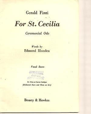 For St.Cecilia Ceremonial Ode: Blunden, Edmund. Music By Gerald Finzi.