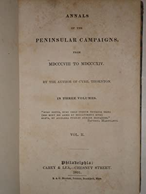 ANNALS OF THE PENINSULAR CAMPAIGNS FROM MDCCCVIII TO MDCCCXIV [VOLUME 2 ONLY, OF 3]: Hamilton, ...