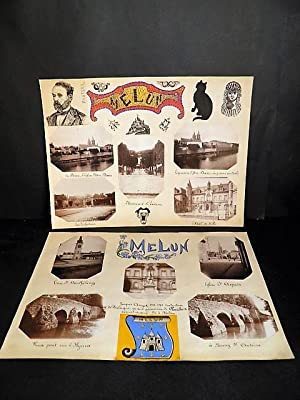 MELUN. Ensemble de 10 photographies originales, avec décors et illustrations manuscrits Belle Epo...