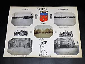TOURS. Ensemble de 5 photographies originales, avec décors et illustrations manuscrits Belle Epoq...
