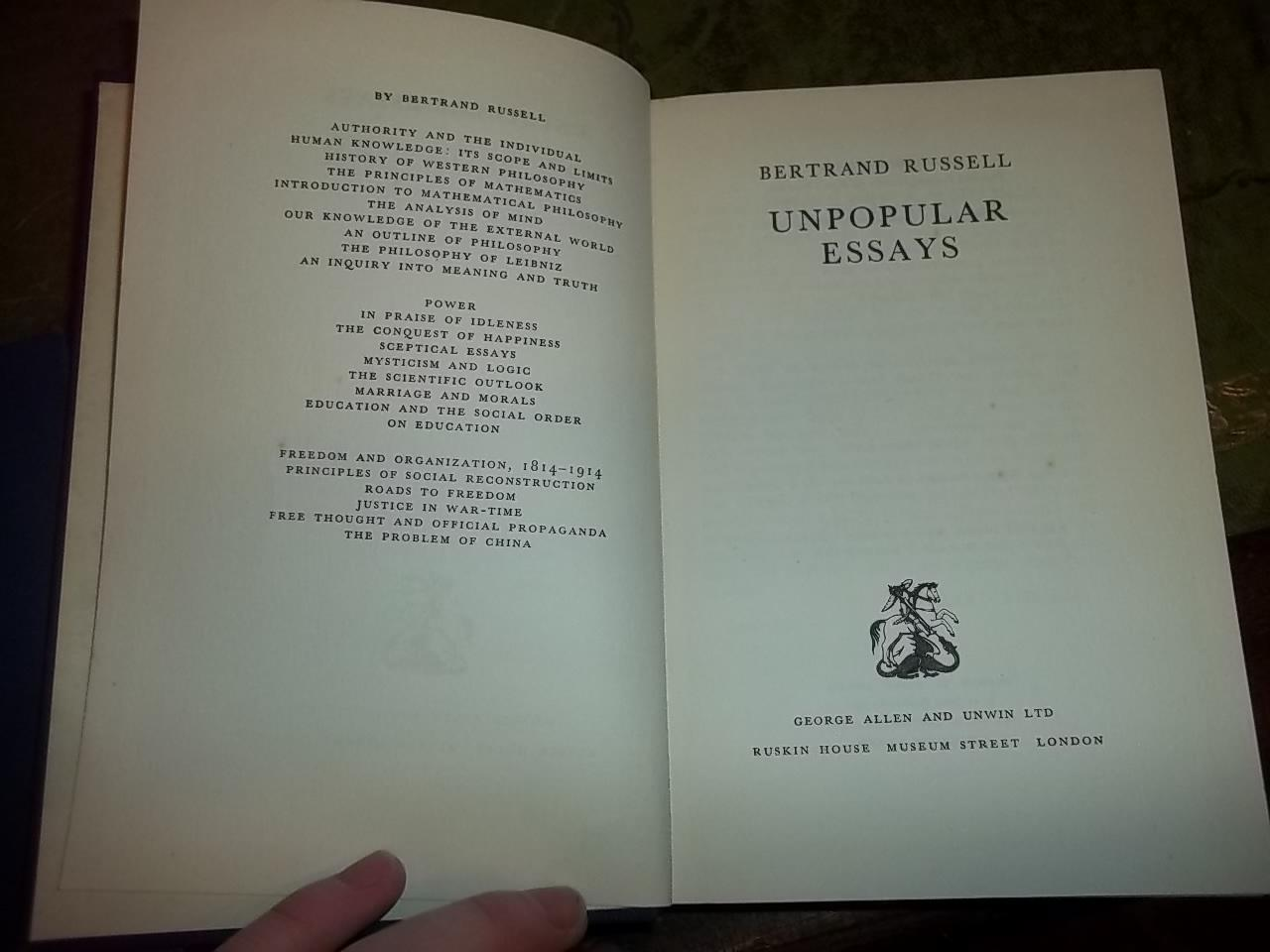 unpopular essays by russell bertrand george allen hardcover st view larger image