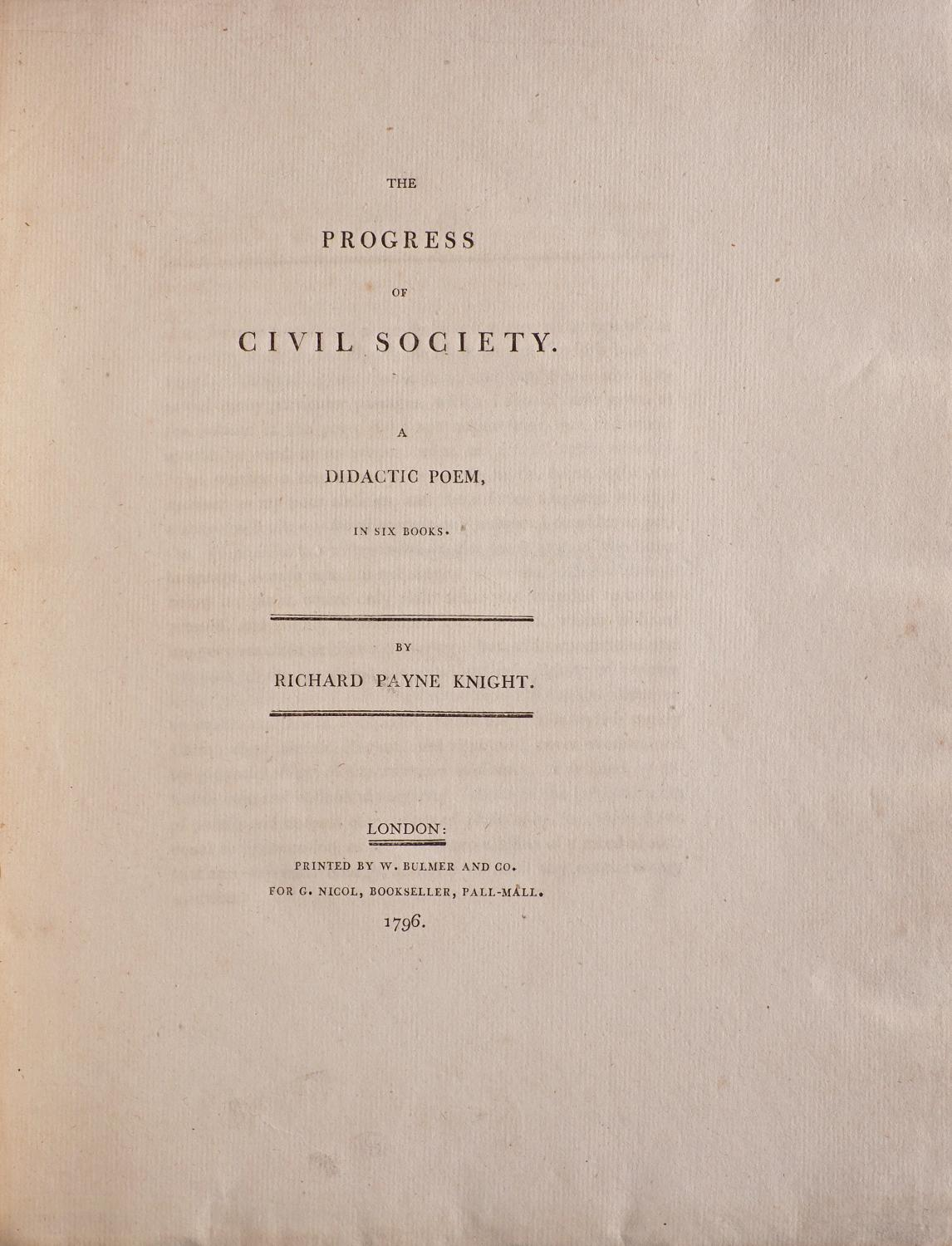 The Progress of Civil Society. A didactic Poem. In six ...