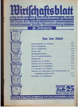Wirtschaftsblatt der Industrie- und Handelskammer zu Berlin. Organ der Wirtschaftskammer ...
