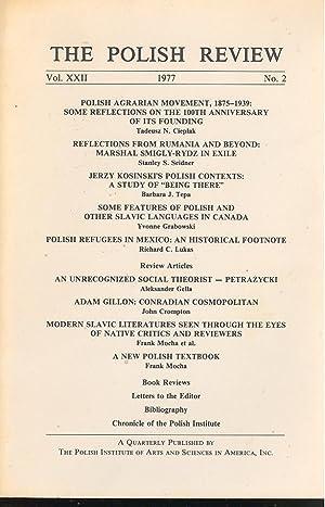 The Polish Review, Vol. XXII, 1977, No.: Tadeusz N. Cieplak