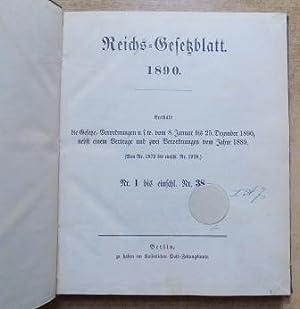 Reichsgesetzblatt 1890 - Nr. 1 bis Nr.