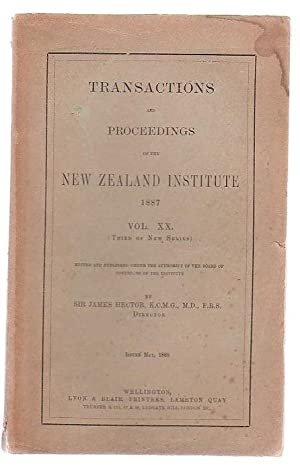 Transactions And Proceedings Of The New Zealand Institute, 1886. Vol XX(Third Of New Series): ...
