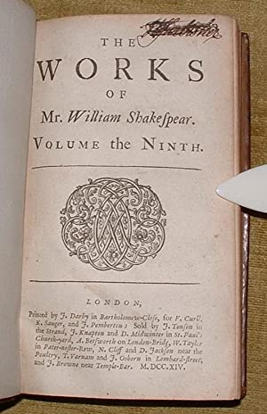 The Works of William Shakespear. Volume the Ninth.: Shakespear, William [Shakespeare]