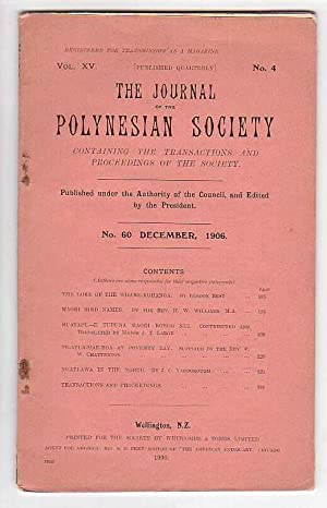The Journal of the Polynesian Society. No. 60. December1906 (Vol. XV, No. 4): The Polynesian ...