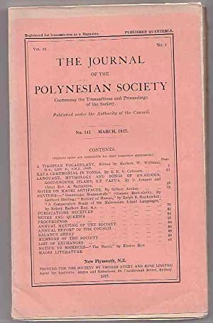 The Journal of the Polynesian Society. No. 141. March 1927 (Vol. 36, No. 1) . Also Includes Index ...