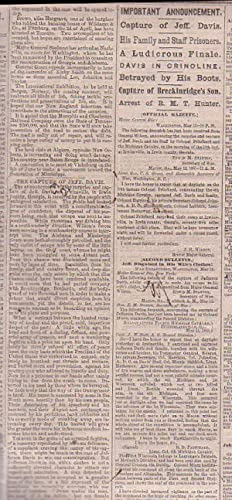 Civil War newspaper] American and Commercial Advertiser. Monday, May 15, 1865