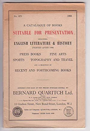 A Catalogue of Books Suitable for Preservation: Bernard Quaritch Ltd.