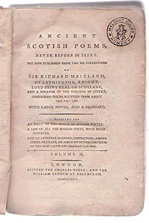 Volume II only] Ancient Scotish Poems, Never