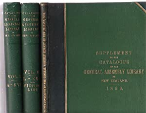 Catalogue of the General Assembly Library of New Zealand. In Two Volumes. [plus] Supplement to the ...