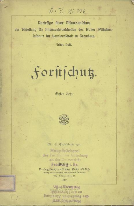 Forstschutz Heft 1 Von Schander Richard Hrsg Parey Berlin