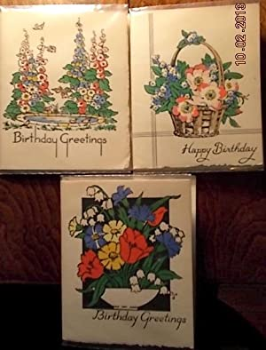 Three Vintage Birthday floral Greetings Cards with hand-made envelopes.