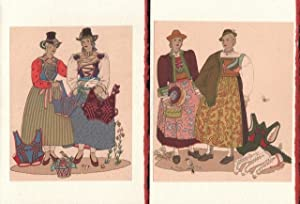 Two Blank note card of Costumes of Tirol (Buchenstein and Brandenberg) from Trachten der Alpenlan...