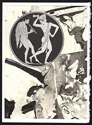 Red figure Kylix detail on a one-of-a-kind hand marbled paper composition presented on a blank no...