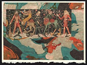 Wild Men, 14th Century Tapestry detail on a one-of-a-kind hand marbled paper composition presente...