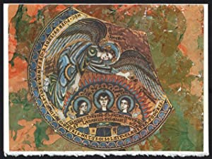 Youths in the Fiery Furnace on a one-of-a-kind hand marbled paper composition presented on a blan...