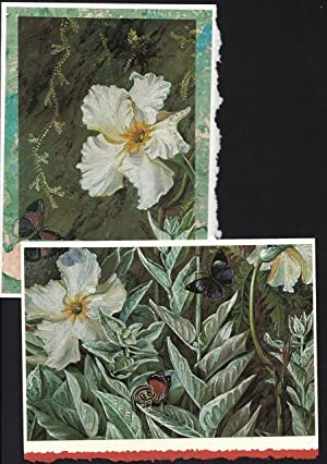 Puzzle card (3 piece) of Flannel Flowers (Brazil), two on a one-of-a-kind hand marbled papers pre...