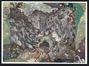 Ravine 1889 detail on a one-of-a-kind hand marbled paper composition presented on a blank note ca...