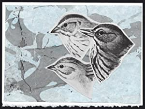 Three Sparrow Heads detail on a one-of-a-kind hand marbled paper composition presented on a blank...
