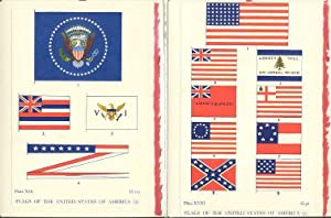 Flags of the United States of America plates made into 2-blank note cards.
