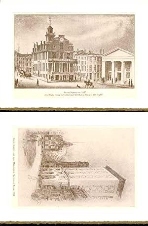Days and Ways in Old Boston plates made into 2-blank note cards: State Street in 1837 (and) State...