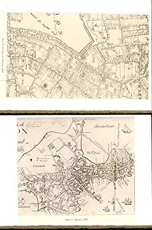 Days and Ways in Old Boston plates made into 2-blank note cards: Map of Section of Boston in 1814...