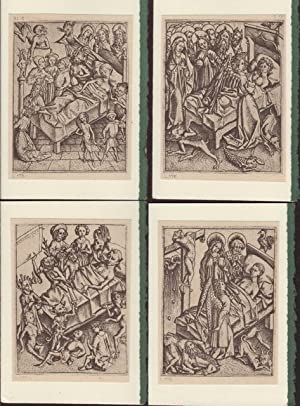 Four blank cards from plates from Die Kupferstiche Des Meisters E.S. depicting illness or laying ...