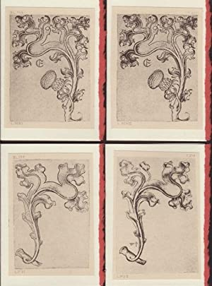 Four blank cards from plates from Die Kupferstiche Des Meisters E.S. depicting decorative motifs ...