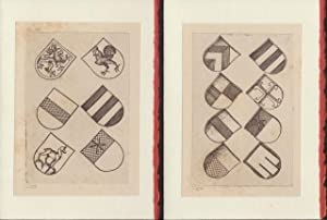 Four blank cards from plates from Die Kupferstiche Des Meisters E.S. depicting shields (red and g...