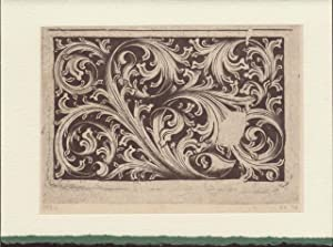 Three blank cards from plates from Die Kupferstiche Des Meisters E.S. depicting decorative motifs...