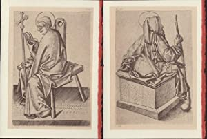 Two blank cards from plates from Die Kupferstiche Des Meisters E.S. depicting scenes with Church ...