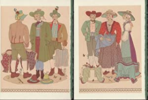 Four Blank note cards of Costumes of Steiermark (Leoben, Mittelsteier, Obersteier, Tragoss) from ...