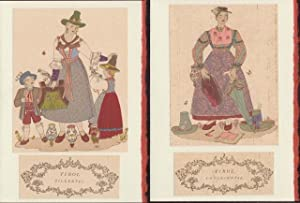 Two Blank note cards of Costumes of Tirol (Unterinntal and Zillertal) from Trachten der Alpenlander.