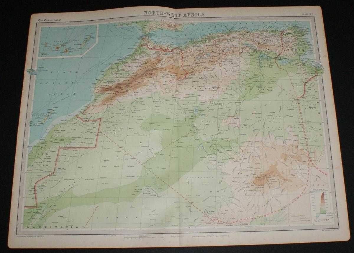 Picture of: Map Of North West Africa From The 1920 Times Survey Atlas Plate 77 Including Morocco Gibraltar Canary Islands Madeira Islands Algeria Tunis Atlas Mountains Sahara Part Etc By The Times And J G