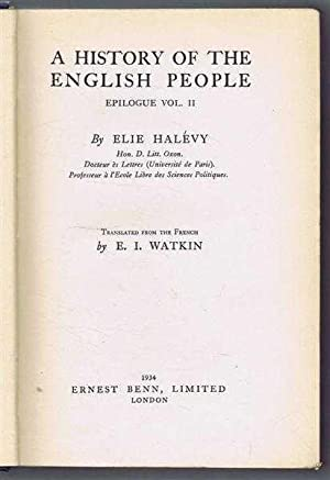 A History of the English People, Epilogue, Vol. II: Elie Halevy, translated E I Watkin