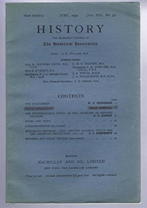History, the Quarterly Journal of the Historical Association, June 1934 Vol. XIX No. 73: edited by ...
