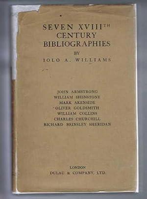 Seven XVIIIth (Eighteenth) Century Bibliographies: John Armstrong;: Iola A Williams