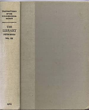 The Transactions of the Bibliographical Society,The Library,: edited by R