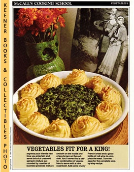 McCall's Cooking School Recipe Card: Vegetables 6 - Creamed Spinach And Potato Au Gratins (Replac...