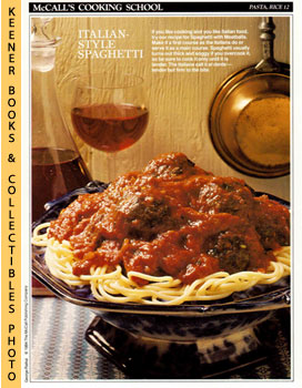 McCall's Cooking School Recipe Card: Pasta, Rice 12 - Spaghetti And Meatballs (Replacement McCall...