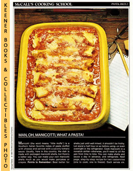 McCall's Cooking School Recipe Card: Pasta, Rice 2 - Baked Manicotti With Cheese Filling (Replace...