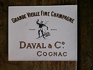 Vieille étiquette de bouteille de COGNAC DAVAL: auteur non précisé