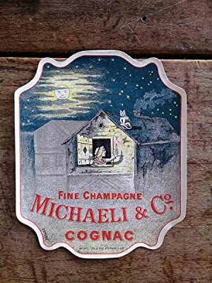 Vieille étiquette de bouteille de COGNAC MICHAELI: auteur non précisé